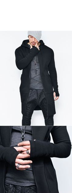 3172f647e99a Outerwear    Jackets    Street Extra Long Armwarmer Zipup-Hoodie 99 - Mens  Fashion Clothing For An Attractive Guy Look