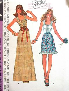 Items similar to McCalls Dress Pattern No 4021 UNCUT Vintage Size 10 Bust 32 Skirt in Two Lengths Sleeveless Top Blouse With Shoulder Straps Cute on Etsy Skirt Patterns Sewing, Clothing Patterns, Skirt Sewing, 60s And 70s Fashion, Vintage Fashion, Retro Fashion, Vintage Vogue Patterns, Kinds Of Clothes, Diy Clothes