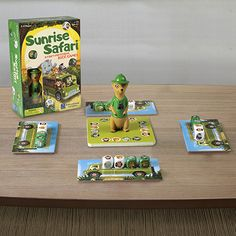 New for 2017! Help Meeka Meerkat match up her safari friends in this ferociously fun all-play game of speed and visual comprehension! Be the first to match the safari animals you roll to the challenge card to win the round. Player who collects the most cards wins! For 2-4 players. Ages 4+.