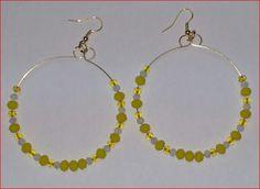 € 2,50 - Orecchini cerchio con pietre gialle e bianche . turtlebijoux@gmail.com