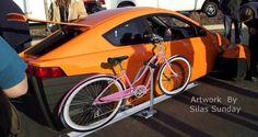 Bicycle rack concept Elio Motors, Bicycle Rack, Third Wheel, Cars And Motorcycles, Vehicles, Transportation, Cycling, Alternative, Concept