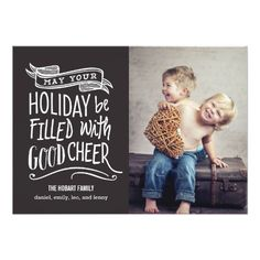 Good Cheer Holiday Photo Card - Editable Color