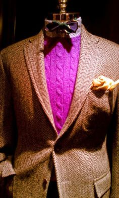 Another great idea on how to dress up a plain brown tweed sport coat. That sweater could be substituted for a shirt of the same color for spring/summer:)