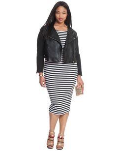 Plus Size Striped Easy Midi Dress Black/White Stripe