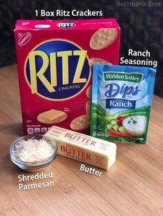 Take a box of crackers from boring to addicting! Simply coat them in butter, ranch seasoning, parmesan and bake! My kids love this easy snack idea. I use Ritz crackers but you can also use Saltines or any cracker you would like. Ritz Cracker Recipes, Cracker Dip, Ritz Cracker Chicken, Cracker Toffee, Ranch Crackers, Ritz Crackers, Saltine Crackers Ranch, Savory Snacks, Easy Snacks