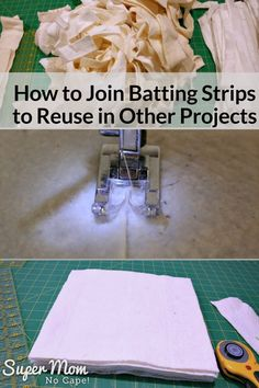 Got lots of leftover batting strips from trimming quilts? Join those strips to reuse in other projects following this step-by-step tutorial. #quilting #quiltbatting #quiltingtips via @susanflemming