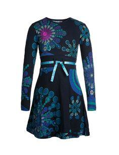 Desigual Big Girls' Long Sleeved Dress, Blue, 10 Little Dresses, Blue Dresses, Marine Uniform, Girl Falling, Fall Winter 2015, Bleu Marine, Kids And Parenting, Kids Girls, Cute Kids
