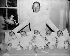 The Dionne Quintuplets, born in Ontario in 1934, were the first recorded set of quintuplets to survive infancy and were, incredibly, identical. As infants, they were removed from their parents to be raised in a specially built facility, where they were treated as a tourist attraction for much of their childhood.
