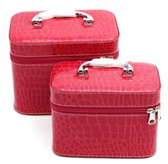 HOYOFO 2-Piece Stone Texture Cosmetic Train Case Set Makeup Bags with Mirror,Rose Red *** Click image for more details.
