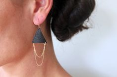 Tribal drape leather earrings by Waialea on Etsy