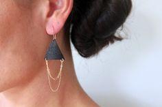 Tribal drape leather earrings by Waialea on Etsy