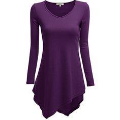 Doublju Purple V-Neck Handkerchief Tunic
