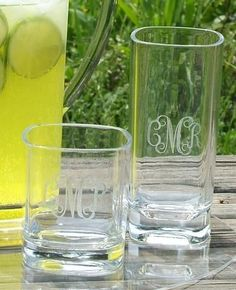 Monogrammed square acrylic highball and matching monogrammed square acrylic water glass bring a touch of elegance to your bar!