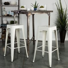 Vintage 30-inch Antique Finish Modern-style Sheet Metal Cafe and Bistro Bar Stools (Set of 2) | Overstock.com Shopping - The Best Deals on Bar Stools