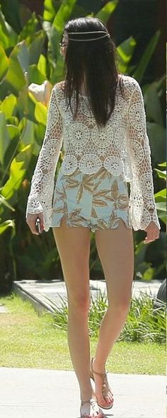 Kendall Jenner wearing Kendall & Kylie Long Sleeve Crochet Top Motel Dixie High Waisted Short in Mint Palm Leaf Print