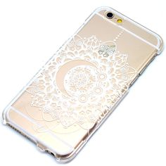 White Crescent Moon Mandala Henna Clear Case iPhone 6, 6 Plus, 5, 5C, 5S, Galaxy S4, S5, S6, Note 4