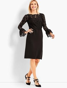 Shop Talbots for modern classic women's styles. You'll be a standout in our Lace Bodice Flounce Sleeve Dress - only at Talbots! Lace Bodice, Lace Dress, Beautiful Dresses For Women, Classic Style Women, Modern Classic, Dresses For Work, Dresses With Sleeves, Party Fashion, Talbots