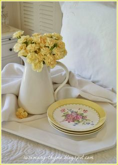 Lovely post featuring yellow and white. Rosemary and Thyme: Light and Pretty Yellow Cottage, Rose Cottage, Cottage Style, Honeysuckle Cottage, Yellow Houses, Breakfast In Bed, Shades Of Yellow, Cottage Homes, Cottage Living
