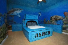 Normally we don't get jealous of anymore, but after seeing these fifteen ridiculously elaborate kids bedroom themes, we'll make. Boys Bedroom Ideas 8 Year Old, Cool Kids Bedrooms, Awesome Bedrooms, Kids Rooms, Boy Rooms, Shark Bedroom, Ocean Bedroom, Master Bedroom, Sea Bedrooms