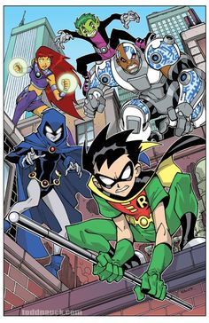 "toddnauck: "" Teen Titans on patrol! I'll have this new, limited edition Teen Titans print available at my next two convention appearances: Long Beach Comic Con Sept 27-28, 2014 and New York Comic Con Oct 9-12, 2014. """