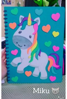 Diy Arts And Crafts, Fun Crafts, Crafts For Kids, Paper Crafts, Birthday Gifts For Girls, Birthday Cards, Chart School, Unicorn And Fairies, Diary Covers