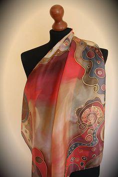 Jablko-škorica... Silk Image, Hand Painted Fabric, Painted Silk, Pressed Flower Art, Silk Art, Floral Scarf, Fabric Painting, Silk Scarves, Silk Fabric