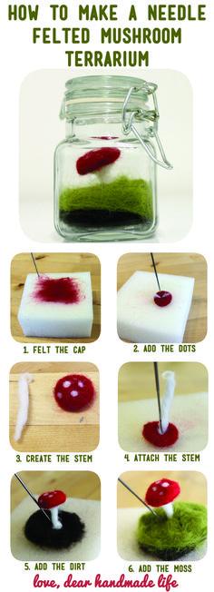 DIY needle felted mushroom terrarium from Dear Handmade Life! #needlefeltingtutorials