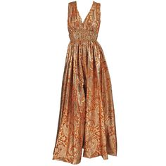 Malcolm Starr jeweled gold brocade palazzo gown