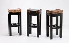 Kurve Stool by Enrico Konig. Highly figured veneers complement the simple, graceful design of this stool, with a seat that seems to float above the ebonized solid hardwood base. Signed beneath the seat. Choose zebrano (left), Macassar ebony (center), or French Walnut (right). Style shown in all images is Bar Stool height. Please note: This item ships from Canada and can only be shipped Ground service.