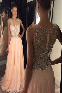 AHP110 New Arrival Prom Dresses, Illusion Neckline Peach Chiffon with Beaded Formal Dresses 2017