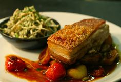7 hour-roast pork belly, celeriac coleslaw and sautéed potatoes