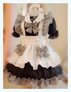 Coffee Shop Black White Grid Bow Maid Dress Free shipping $69.99