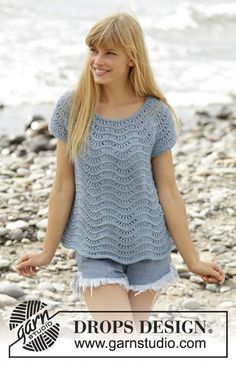 "Shore Line / DROPS - Free knitting patterns by DROPS Design, DROPS top with short sleeves in ""Big Merino"" knitted from top to bottom with wave pattern. Sizes S - XXXL. Free patterns by DROPS Design. Knitting Patterns Free, Knit Patterns, Free Knitting, Finger Knitting, Knitting Tutorials, Cardigan Pattern, Top Pattern, Wave Pattern, Drops Design"