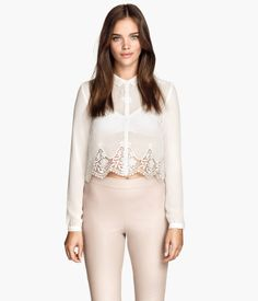 Cropped Lace Chiffon Blouse Product Detail | H&M US