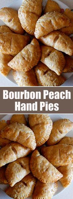 Bourbon Peach Hand Pies For the dough: 2 cups all-purpose flour teaspoon salt 2 sticks butter unsalted, cold, cut into p. Fruit Recipes, Sweet Recipes, Dessert Recipes, Cooking Recipes, Pie Recipes, Appetizer Recipes, Vegan Recipes, Just Desserts, Delicious Desserts