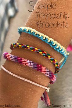 3 Simple Friendship Bracelets Diy bracelets easy, Merle Rieck, Diy bracelets easy Learn how to make 3 simple friendship bracelets Source by . Yarn Bracelets, Embroidery Bracelets, Bracelet Crafts, Gold Bracelets, Gold Earrings, Indian Earrings, Ankle Bracelets, Diy Bracelet Designs, Kids Bracelets