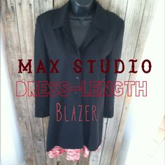 CC sale!Dress length.blazer$40 Can't find the proper coat for your dresses. This sleek black tuxedo blazer is perfect! Side pockets & 3 buttons stunning piece and drapes beautifully! Max Studio Jackets & Coats Blazers
