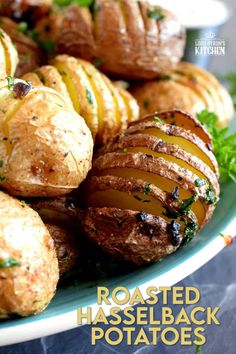 A beautiful side dish, a great little appetizer, or eat them all and call it a main! Roasted Hasselback Potatoes are fast and easy, budget-friendly, and oh, so delicious! I bet you can't eat just one! #babypotatoes #sidedishes #hasselback #bakedpotato Little Potatoes, Baby Potatoes, Potato Recipes, Vegan Recipes, Hasselback Potatoes, Grilled Steak Recipes, Food Shows, Air Fryer Recipes, Serving Platters