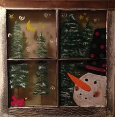 Do You See What I See Original Acrylic Painting on a by RusticMuse Antique Windows, Vintage Windows, Old Windows, Christmas Crafts, Christmas Decorations, Holiday Decor, Snowmen, Arts And Crafts, The Originals