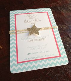 Chevron, glitter star and gold bakers twine soft aqua and strawberry pink gold birthday, shower invitation