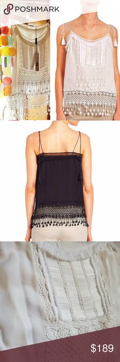 deec65ef57b32 👑Elie Tahari Thelma Embroidered Silk Tank Top