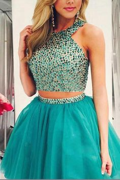 Hot Sale Absorbing Prom Dresses Short Two Piece Beading Short Prom Dress,Layers Chiffon Halter Homecoming Dress Party Dress Prom Dress Two Piece, 2 Piece Homecoming Dresses, Prom Gowns, The Dress, Party Dresses, Dress Prom, Formal Dress, Dress Long, Wedding Gowns
