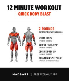 You don't have time to workout today? Great, that means this short workout is perfect for you. Basic Gym Workout, 12 Minute Workout, Gym Workout Chart, Squat Workout, Aerobics Workout, Workout Guide, No Equipment Workout, Gym Plans, Weekly Workout Plans