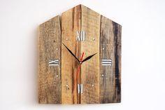 Rustic Wall Clock, Weathered Wood Clock, Home Decor, Reclaimed Wood Decor, Birds House