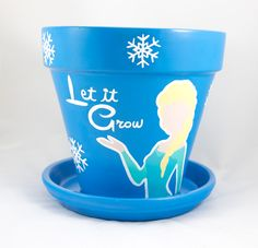 "Painted 8"" Flower Pot by #EpicQuests4Crafts #frozen #else #letitgo #letitgrow #snowflakes #flowerpots #paintedpots"