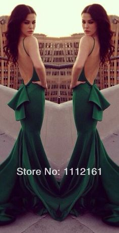 2014 Sexy Green Mermaid Satin Evening Dresses Vestidos Inspired by Michael Costello withTiered Backless Prom Party Dresses US $132.99