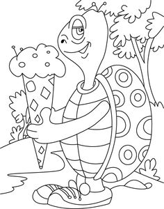 Turtle relishes, cone ice- cream coloring pages Summer Coloring Sheets, Ice Cream Coloring Pages, Turtle Coloring Pages, Elephant Coloring Page, Butterfly Coloring Page, Easy Coloring Pages, Animal Coloring Pages, Coloring Books, Easter Coloring Pictures