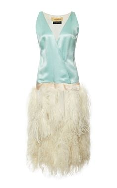 New York Vintage Donald Brooks Blue Satin Dress With White Ostrich Feathers by New York Vintage - Moda Operandi