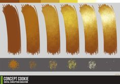 Gold foil Tutorial Reference, Brushes, and Gold Color Palette Download