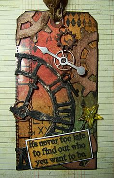 ten thirty-six arts and crafts ... ellen vargo: Distressed Steampunk Tag inspired by Tim Holtz. Utilizing leftovers!